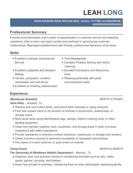 Warehouse Assistant resume sample Texas