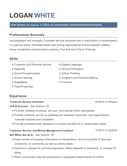 Customer Service Assistant resume example Texas