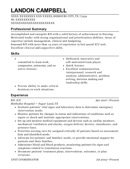 RN ICU resume sample Texas