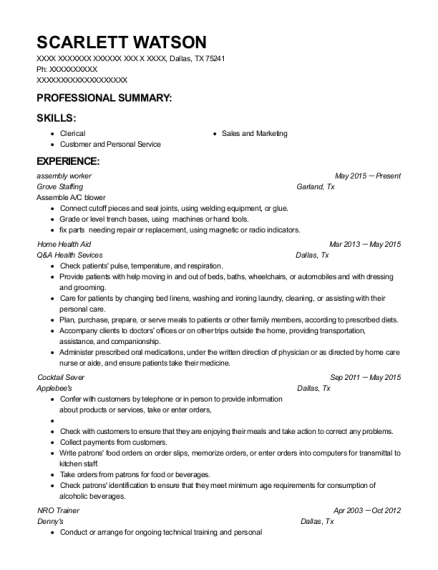 assembly worker resume template Texas