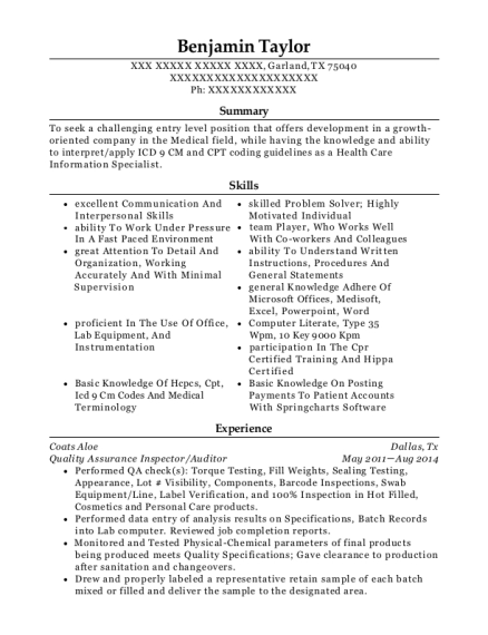 coats aloe quality assurance inspector resume sample