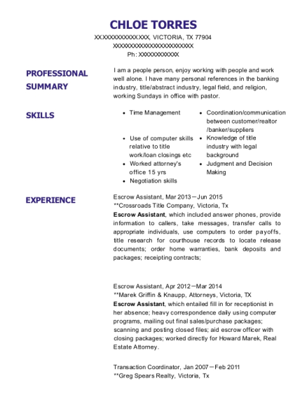Escrow Assistant resume example Texas