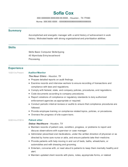 Auditor resume template Texas