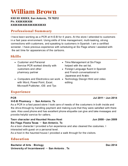H E B Pharmacy Pcr Resume Sample - San Antonio Texas | ResumeHelp