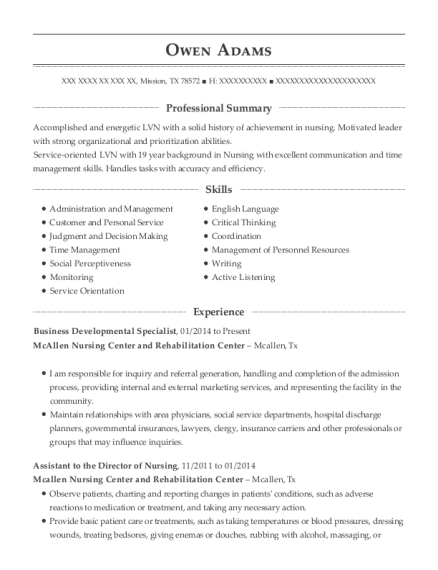 Business Developmental Specialist resume example Texas