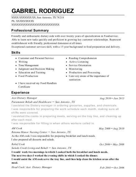Asst Dietary Manager resume example Texas