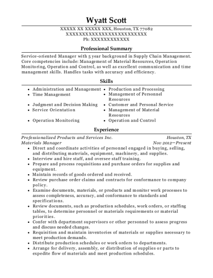 Materials Manager resume sample Texas
