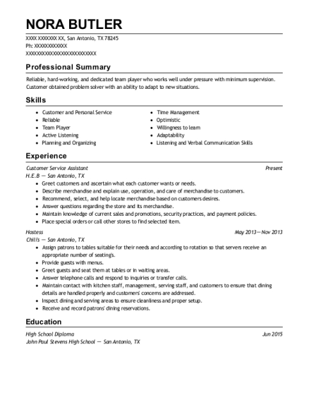 Customer Service Assistant resume template Texas