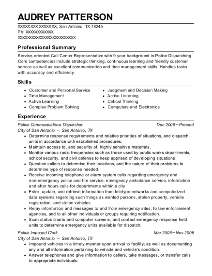 Police Communications Dispatcher resume example Texas