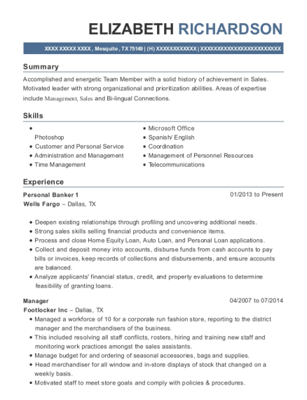 Wells Fargo Personal Banker 1 Resume Sample - Mesquite Texas