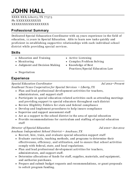 Special Education Coordinator resume sample Texas
