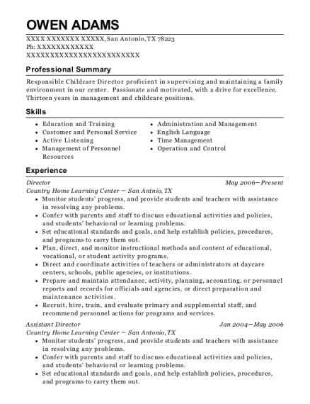 Director resume example Texas