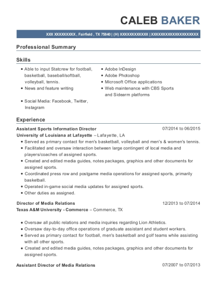 Assistant Sports Information Director resume example Texas