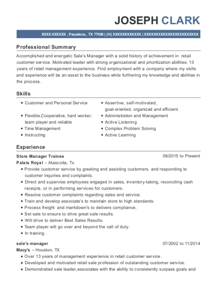 Store Manager Trainee resume example Texas