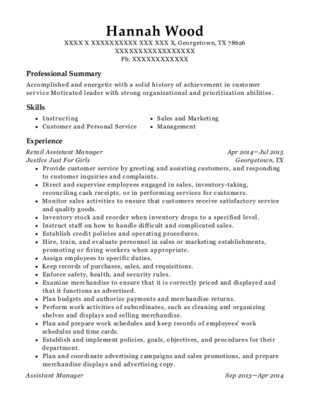 Retail Assistant Manager resume format Texas