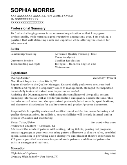 Quality Auditor resume format Texas