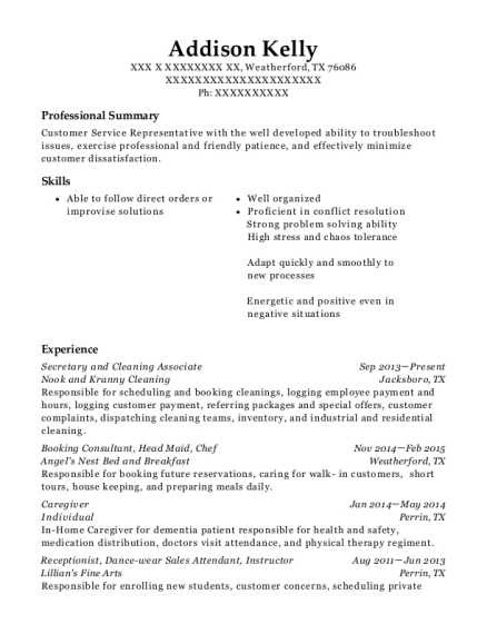 Secretary and Cleaning Associate resume example Texas