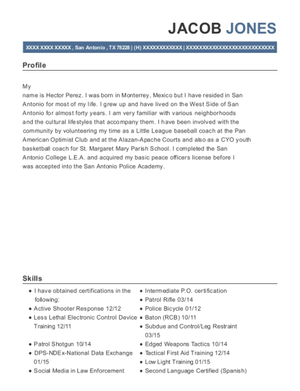San Antonio Police Patrolman resume template Texas