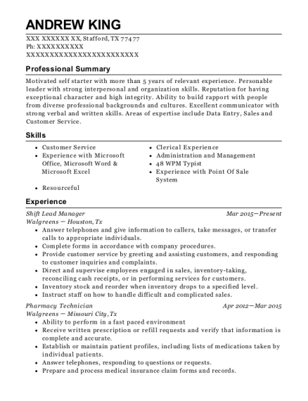 Shift Lead Manager resume format Texas