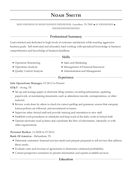 Sale Operations Manager resume template Texas