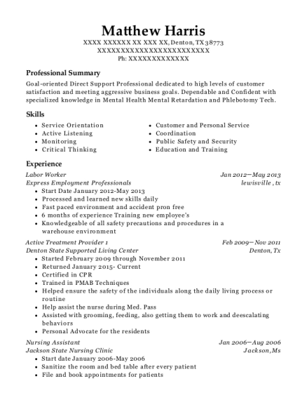 Labor Worker resume format Texas