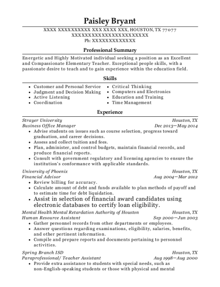 Business Office Manager resume format Texas