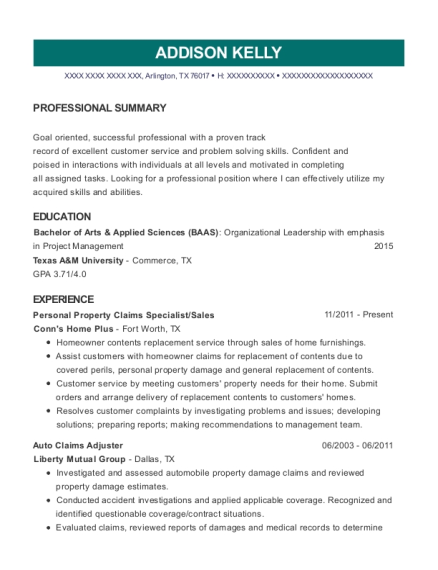 Personal Property Claims Specialist resume example Texas