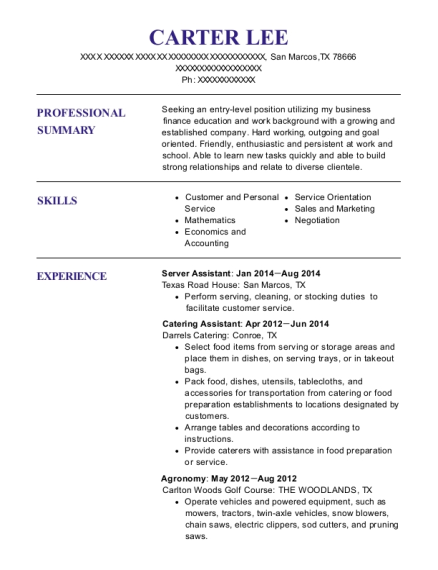 Server Assistant resume template Texas