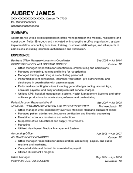 Business Office Manager resume example Texas