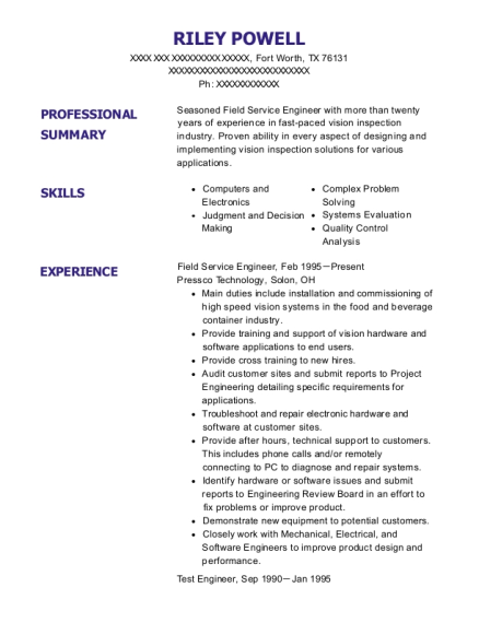 Field Service Engineer resume format Texas