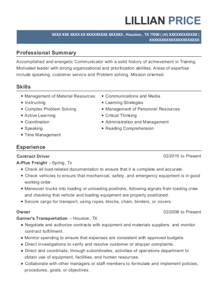 Contract Driver resume template Texas