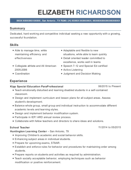 Kipp Special Education ParaProfessional resume sample Texas