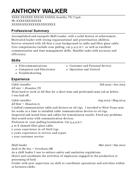Cable Installer resume template Texas