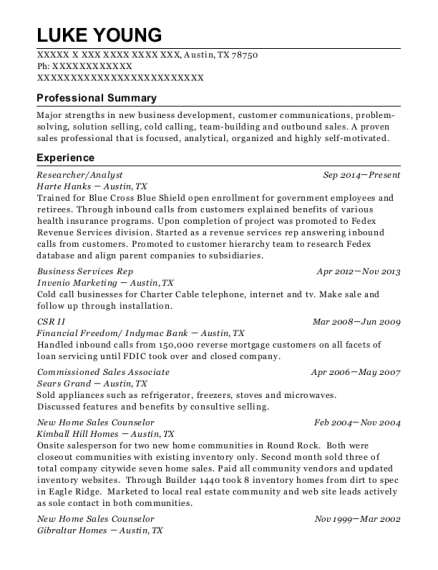 Researcher resume example Texas