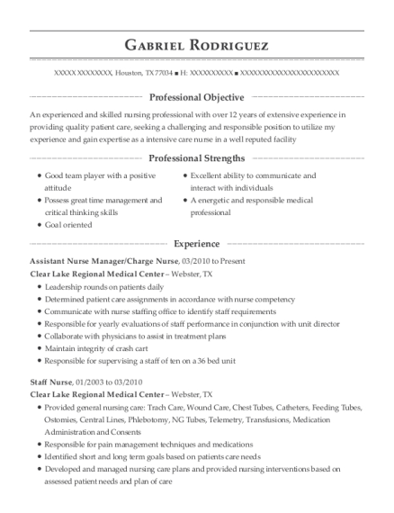 Assistant Nurse Manager resume example Texas