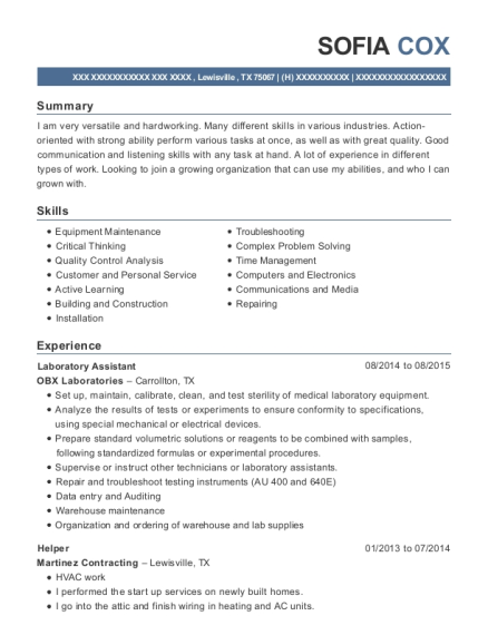 Laboratory Assistant resume format Texas