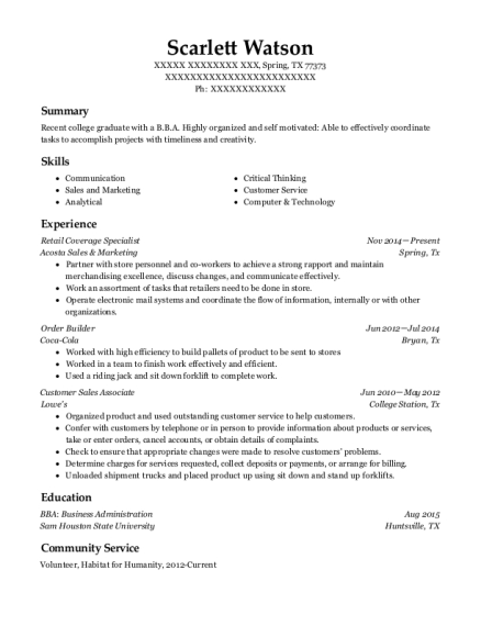 Retail Coverage Specialist resume sample Texas