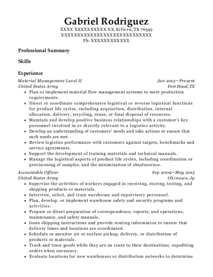 Material Management Level II resume format Texas