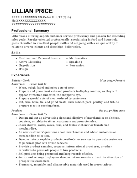 Butcher Clerk resume template Texas