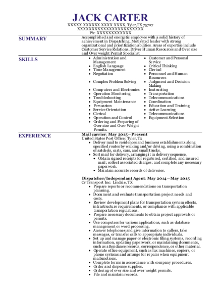 Mail carrier resume template Texas