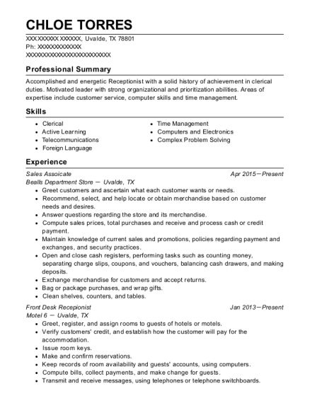 Sales Assoicate resume example Texas