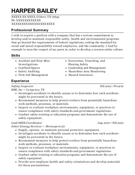 Safety Inspector resume sample Texas