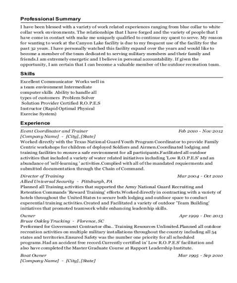 Event Coordinator and Trainer resume sample Texas