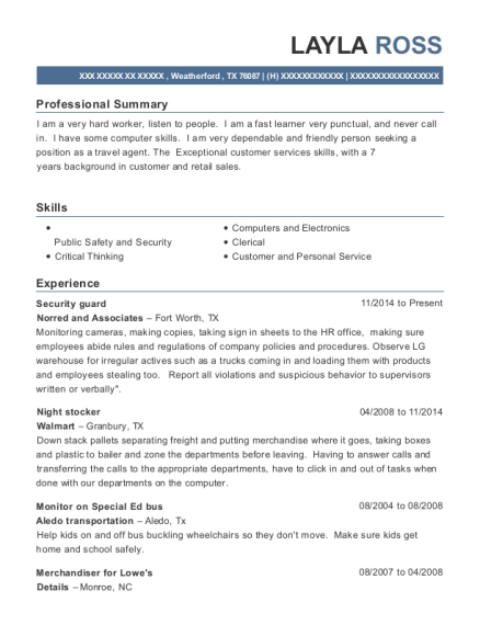 Security Guard resume sample Texas