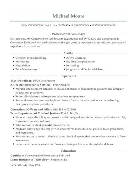 Plant Patrolman resume template Texas