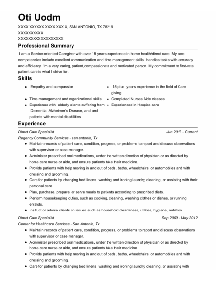 Direct Care Specialist resume sample Texas