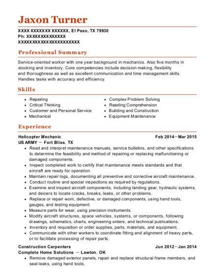 Helicopter Mechanic resume sample Texas