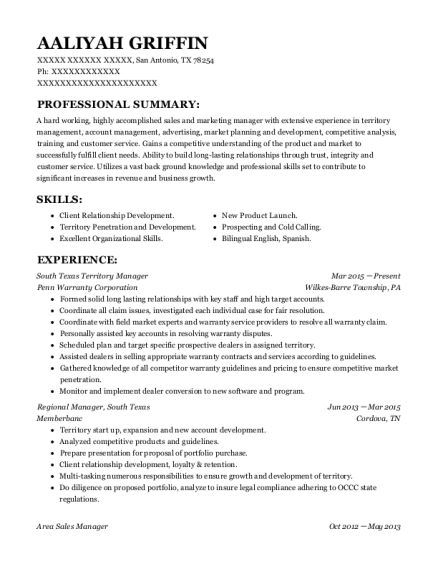 South Texas Territory Manager resume sample Texas