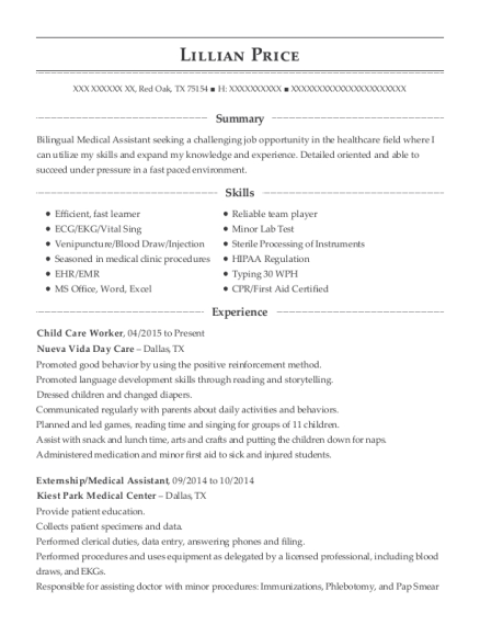 Child Care Worker resume template Texas