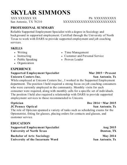 Supported Employment Specialist resume sample Texas